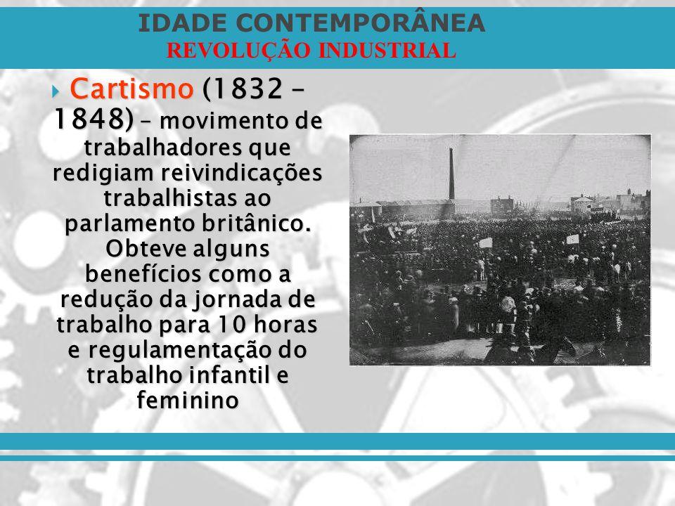 IDADE CONTEMPORÂNEA REVOLUÇÃO INDUSTRIAL Cartismo (1832 – 1848) – movimento de trabalhadores que redigiam reivindicações trabalhistas ao parlamento br