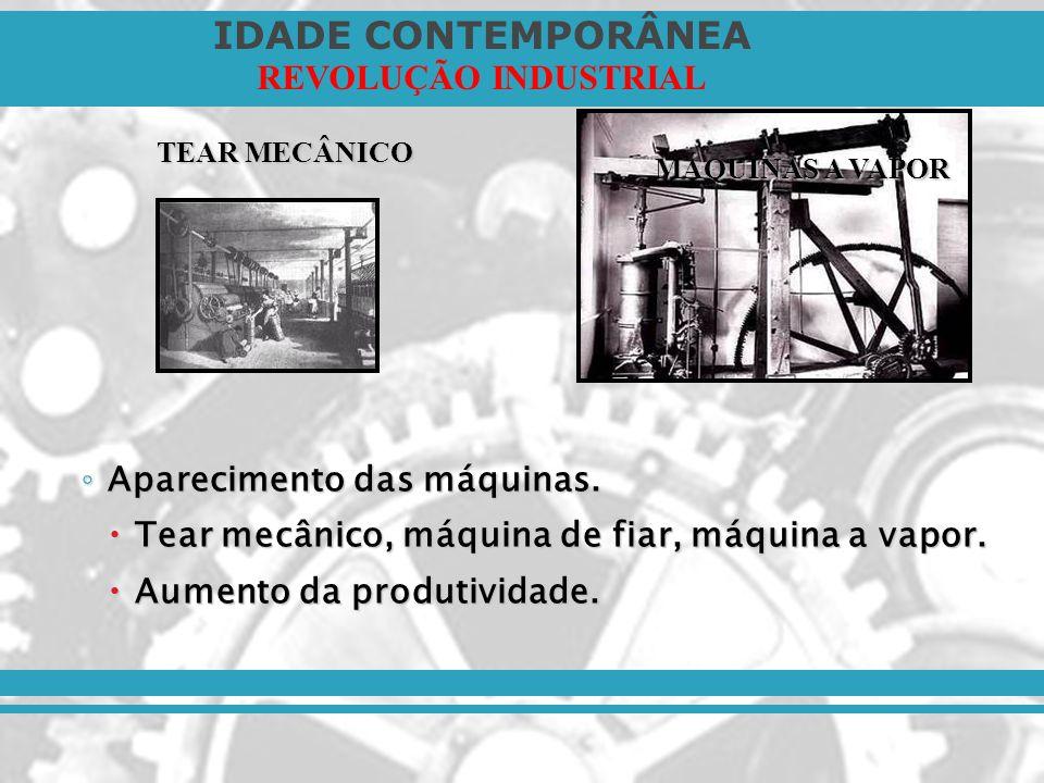 IDADE CONTEMPORÂNEA REVOLUÇÃO INDUSTRIAL Pioneirismo inglês: Pioneirismo inglês: Capitais acumulados (colônias, acordos comerciais na Europa).