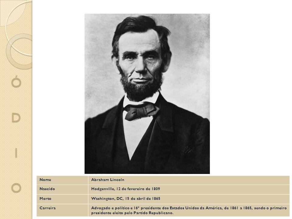 NomeAbraham Lincoln NascidoHodgenville, 12 de fevereiro de 1809 MortoWashington, DC, 15 de abril de 1865 CarreiraAdvogado e político e 16º presidente
