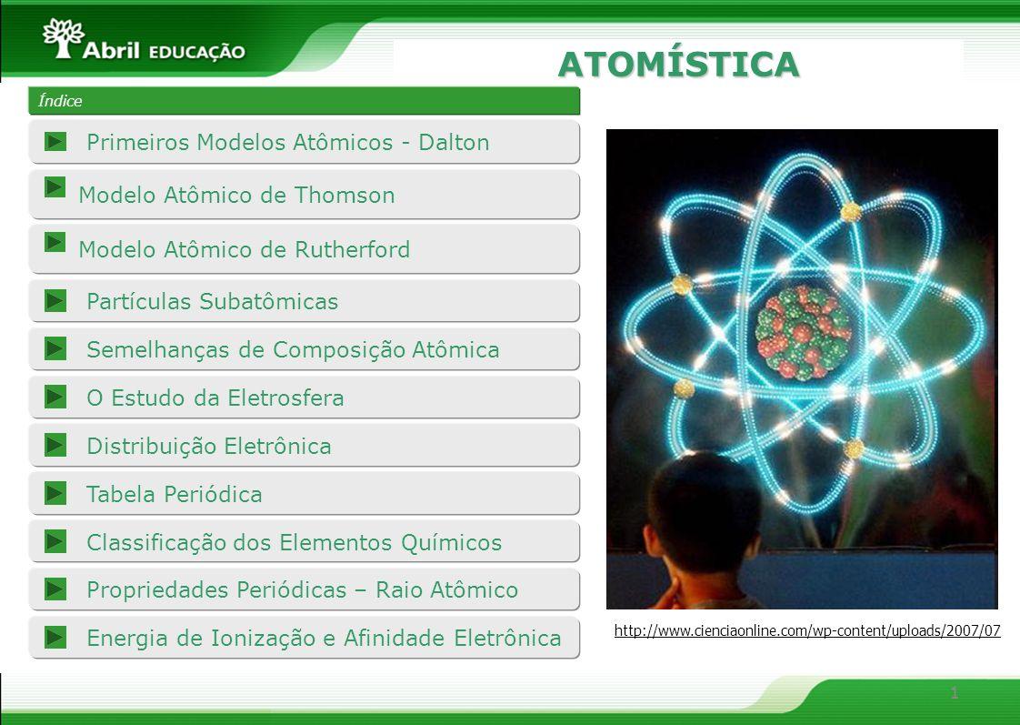 1 ATOMÍSTICA 1 Índice Modelo Atômico de Thomson Partículas Subatômicas O Estudo da Eletrosfera Propriedades Periódicas – Raio Atômico Energia de Ioniz
