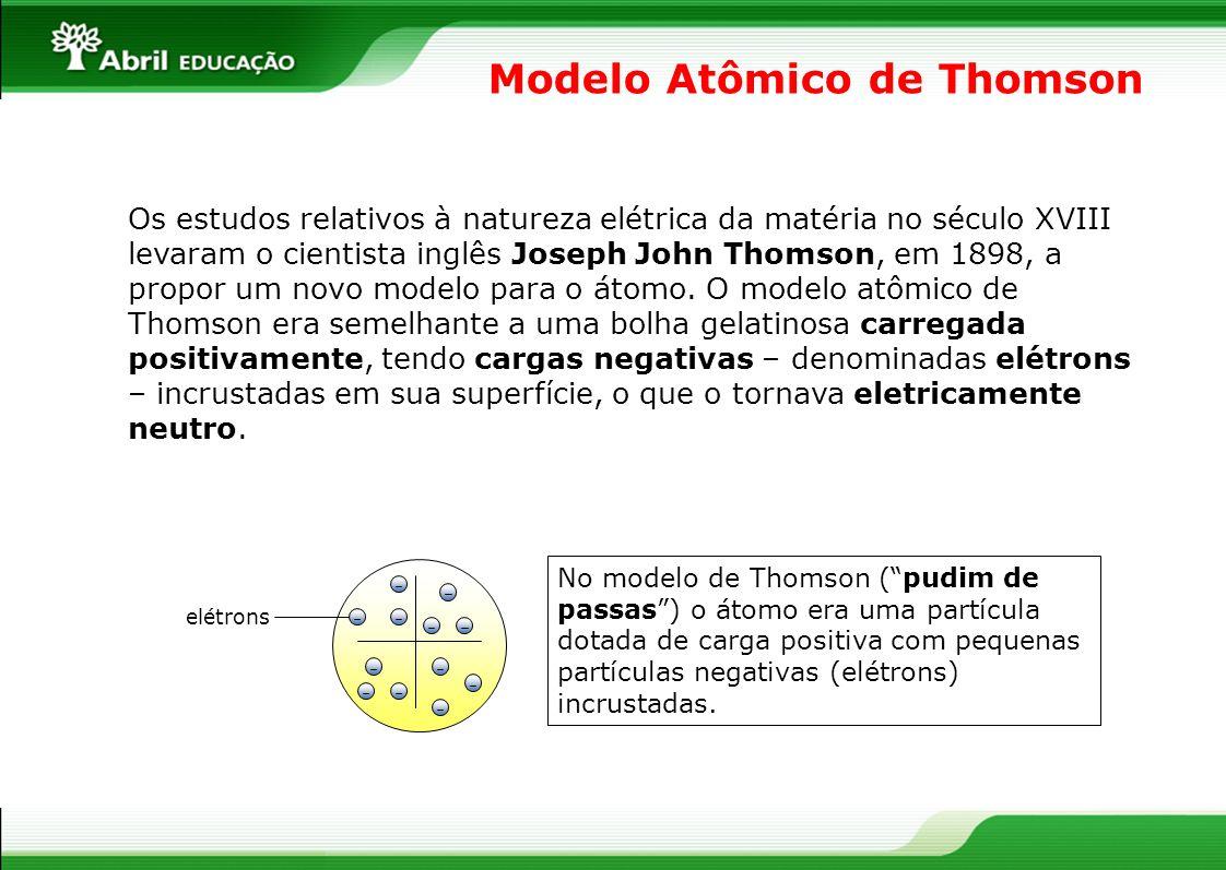 Modelo Atômico de Thomson Os estudos relativos à natureza elétrica da matéria no século XVIII levaram o cientista inglês Joseph John Thomson, em 1898,