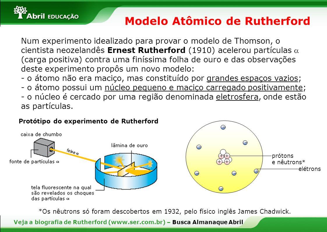 Veja a biografia de Rutherford (www.ser.com.br) – Busca Almanaque Abril Num experimento idealizado para provar o modelo de Thomson, o cientista neozel