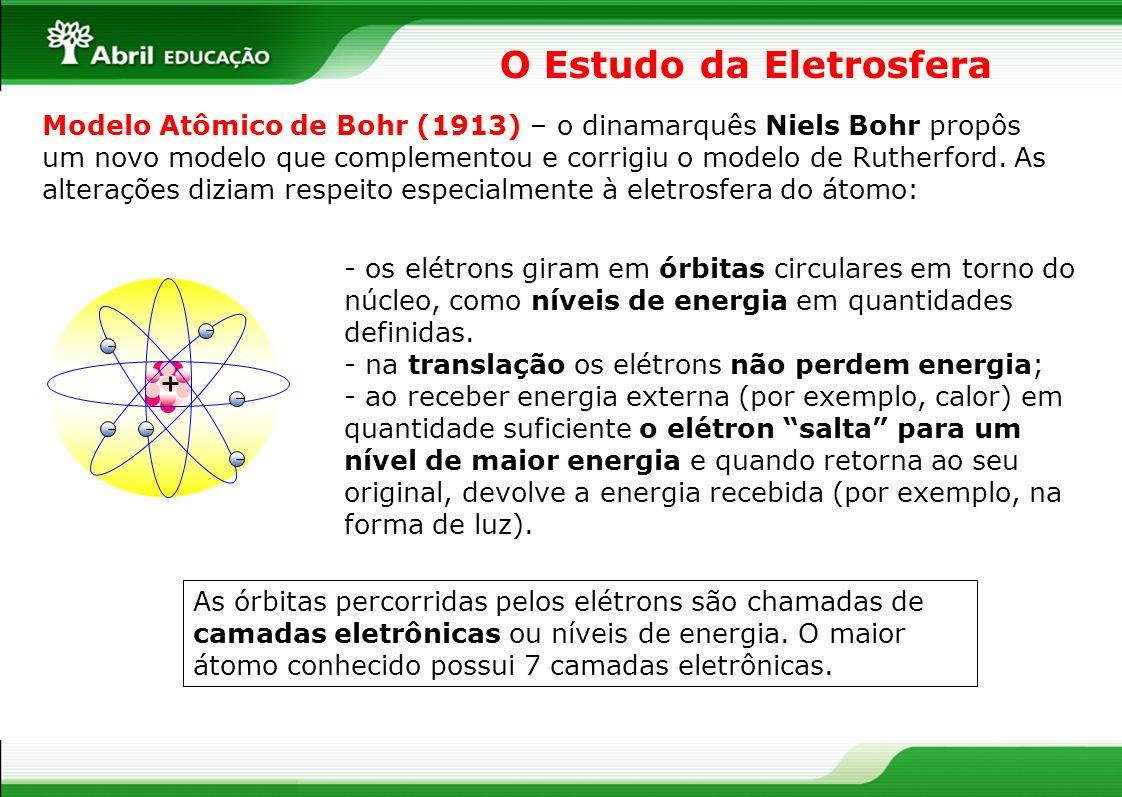 O Estudo da Eletrosfera Modelo Atômico de Bohr (1913) – o dinamarquês Niels Bohr propôs um novo modelo que complementou e corrigiu o modelo de Rutherf