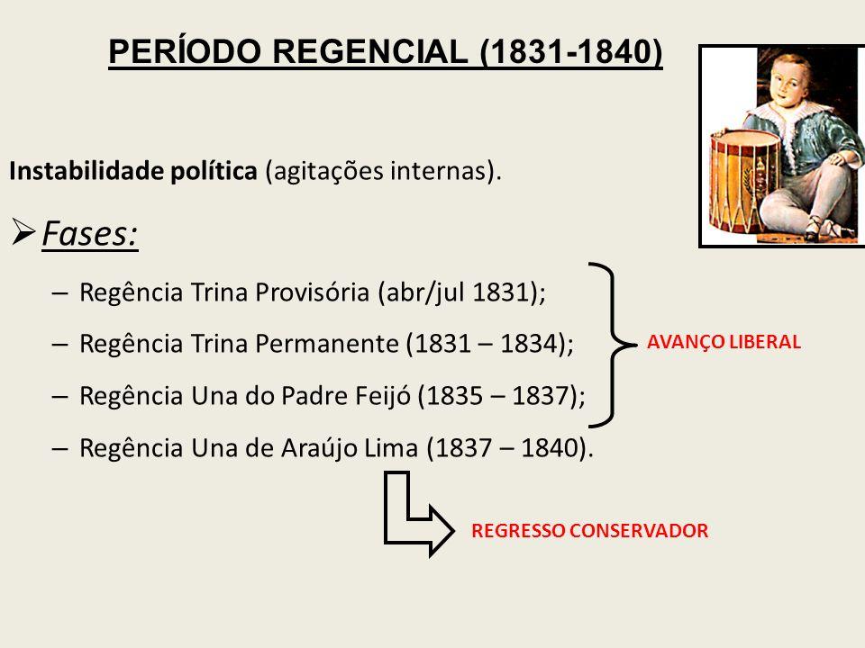 Instabilidade política (agitações internas). Fases: – Regência Trina Provisória (abr/jul 1831); – Regência Trina Permanente (1831 – 1834); – Regência