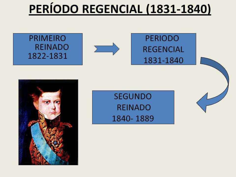 PRIMEIRO REINADO 1822-1831 PERIODO REGENCIAL 1831-1840 SEGUNDO REINADO 1840- 1889 PERÍODO REGENCIAL (1831-1840)