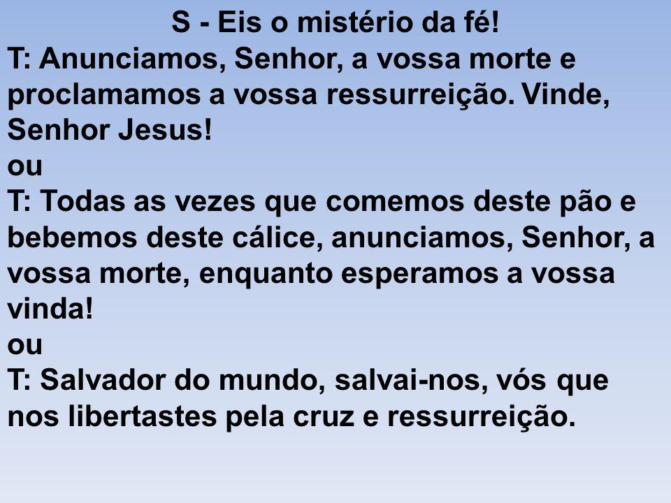 S - Eis o mistério da fé! T: Anunciamos, Senhor, a vossa morte e proclamamos a vossa ressurreição. Vinde, Senhor Jesus! ou T: Todas as vezes que comem