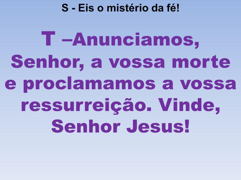 S - Eis o mistério da fé! T – Anunciamos, Senhor, a vossa morte e proclamamos a vossa ressurreição. Vinde, Senhor Jesus!