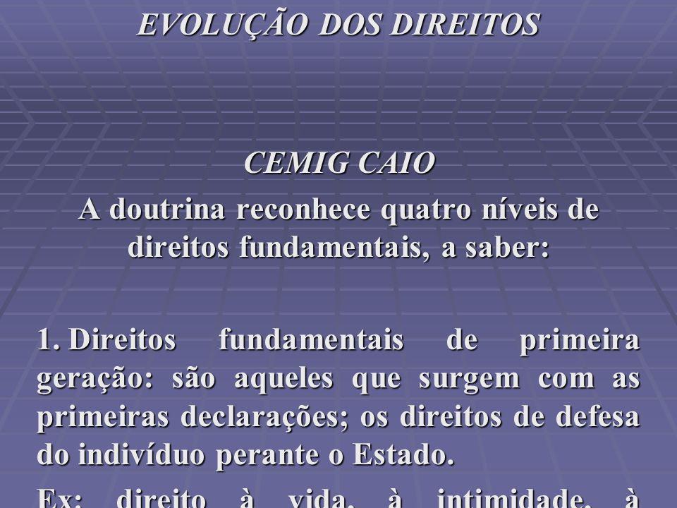 EVOLUÇÃO DOS DIREITOS CEMIG CAIO A doutrina reconhece quatro níveis de direitos fundamentais, a saber: 1. Direitos fundamentais de primeira geração: s