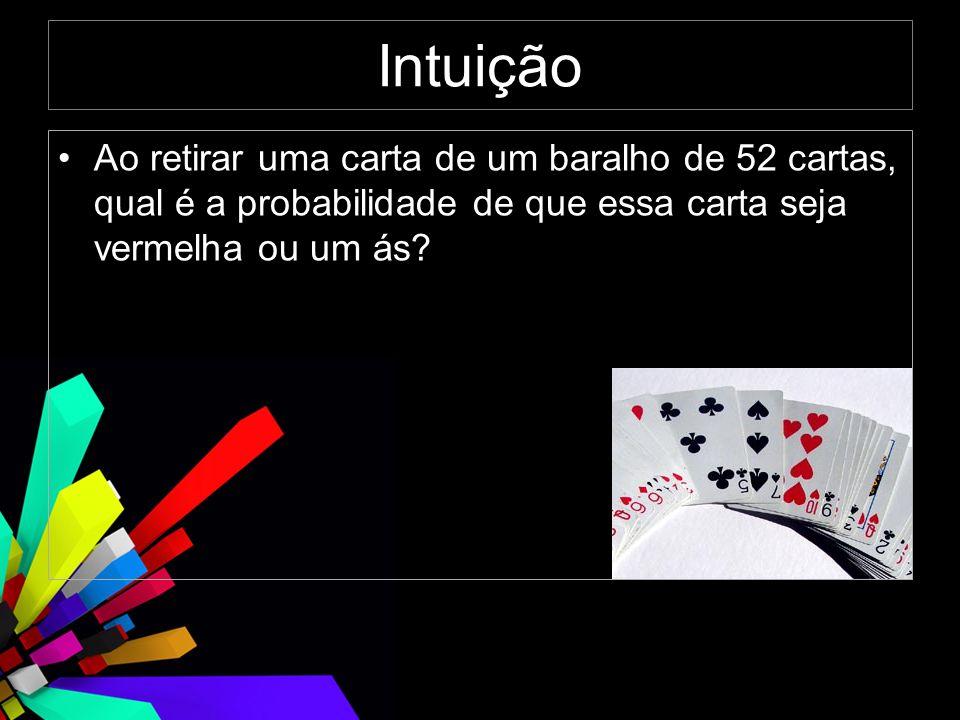 Intuição Ao retirar uma carta de um baralho de 52 cartas, qual é a probabilidade de que essa carta seja vermelha ou um ás?