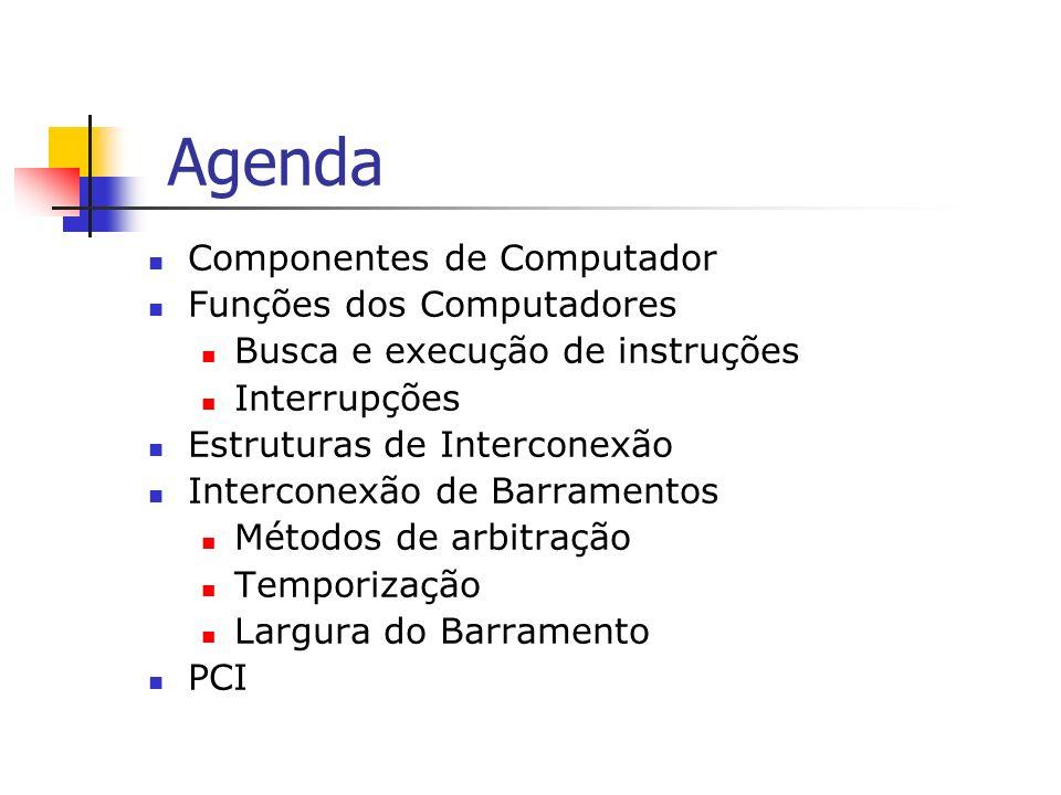 Agenda Componentes de Computador Funções dos Computadores Busca e execução de instruções Interrupções Estruturas de Interconexão Interconexão de Barra