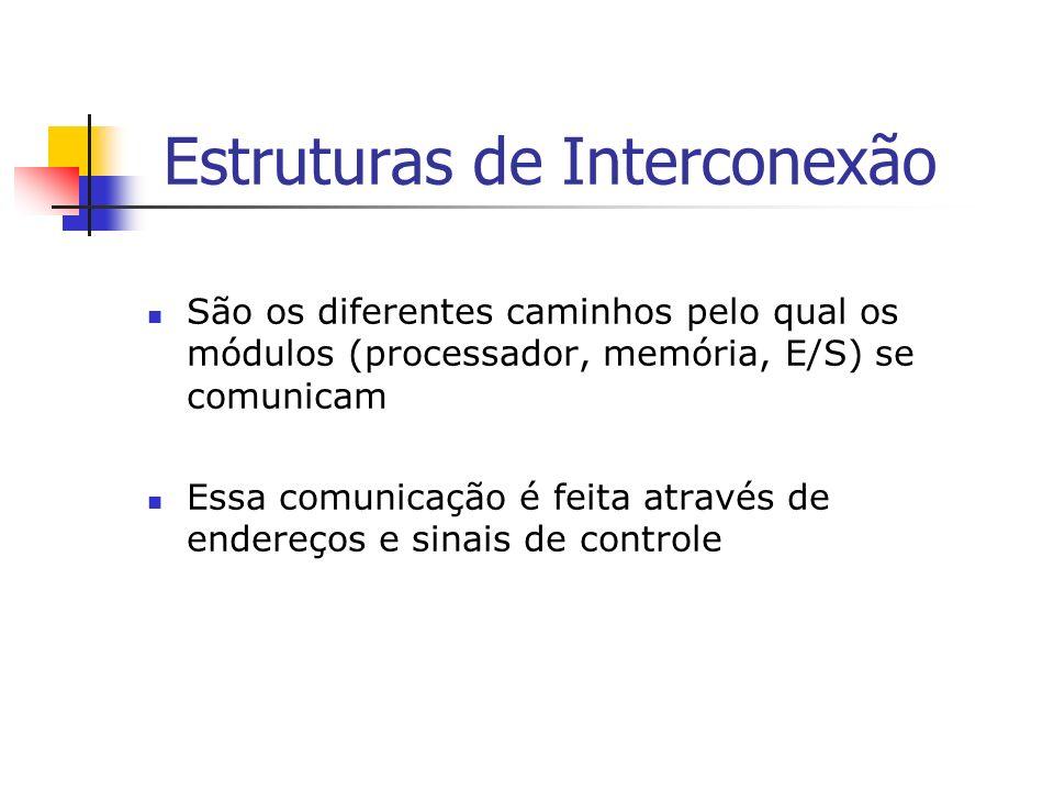 Interconexão de Barramentos Barramento é o caminho pelo qual os dispositivos se comunicam Envio de sinais (dígito 0 ou 1) Uso de memória Cachê