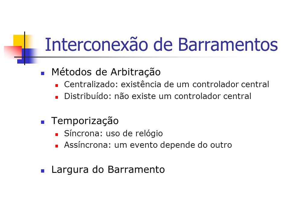 Interconexão de Barramentos Métodos de Arbitração Centralizado: existência de um controlador central Distribuído: não existe um controlador central Te