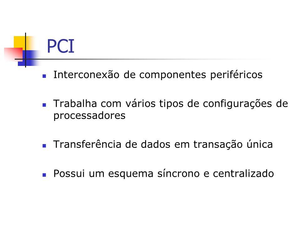 PCI Interconexão de componentes periféricos Trabalha com vários tipos de configurações de processadores Transferência de dados em transação única Poss