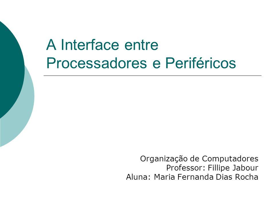 A Interface entre Processadores e Periféricos Organização de Computadores Professor: Fillipe Jabour Aluna: Maria Fernanda Dias Rocha