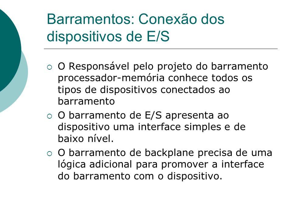 Barramentos: Conexão dos dispositivos de E/S O Responsável pelo projeto do barramento processador-memória conhece todos os tipos de dispositivos conec