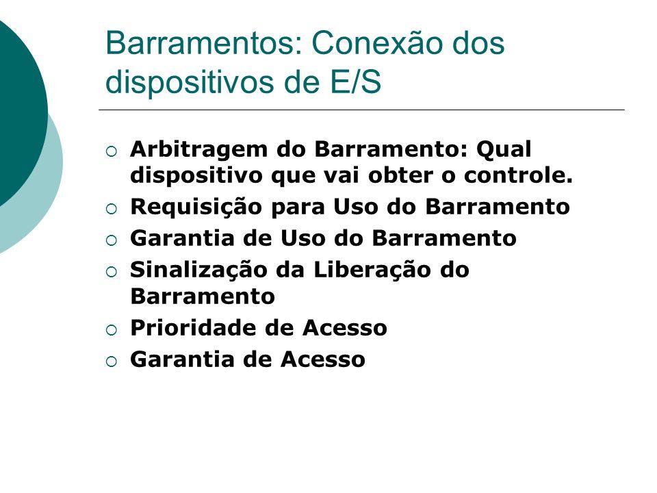 Barramentos: Conexão dos dispositivos de E/S Arbitragem do Barramento: Qual dispositivo que vai obter o controle. Requisição para Uso do Barramento Ga