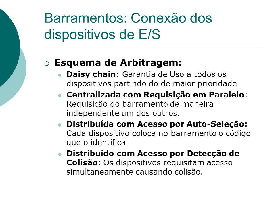 Barramentos: Conexão dos dispositivos de E/S Esquema de Arbitragem: Daisy chain: Garantia de Uso a todos os dispositivos partindo do de maior priorida