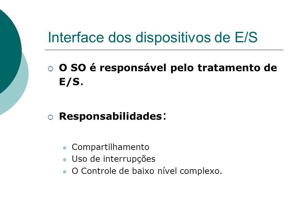 Interface dos dispositivos de E/S O SO é responsável pelo tratamento de E/S. Responsabilidades : Compartilhamento Uso de interrupções O Controle de ba
