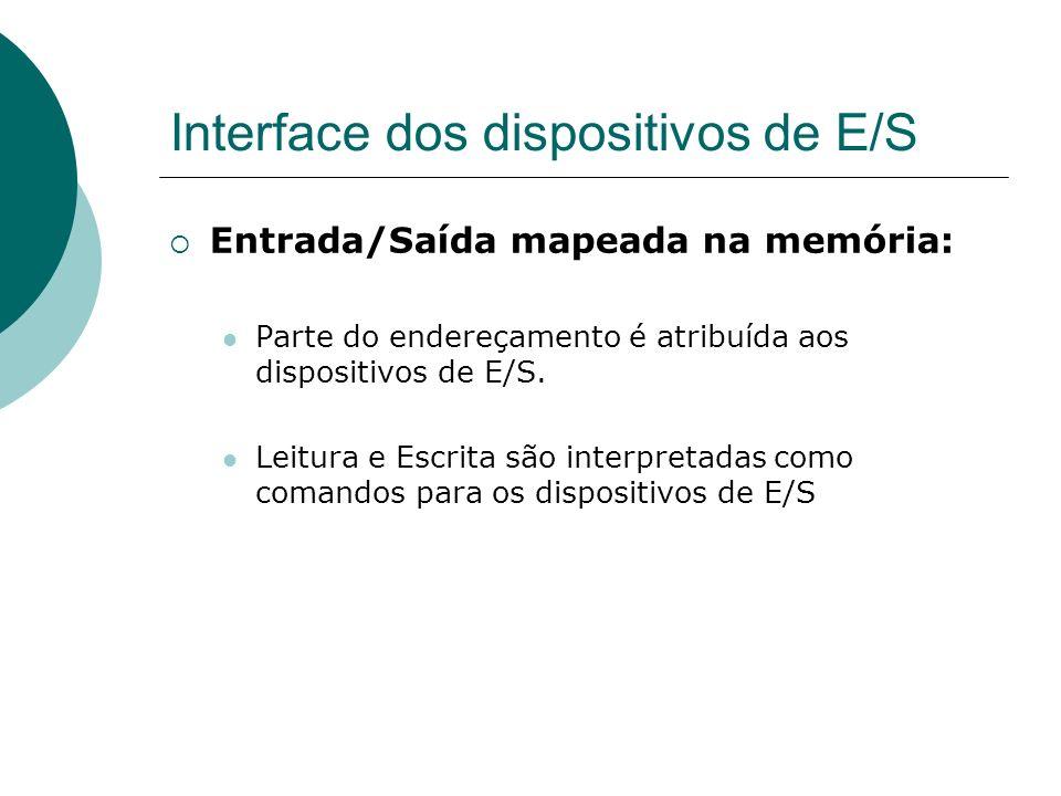 Interface dos dispositivos de E/S Entrada/Saída mapeada na memória: Parte do endereçamento é atribuída aos dispositivos de E/S. Leitura e Escrita são