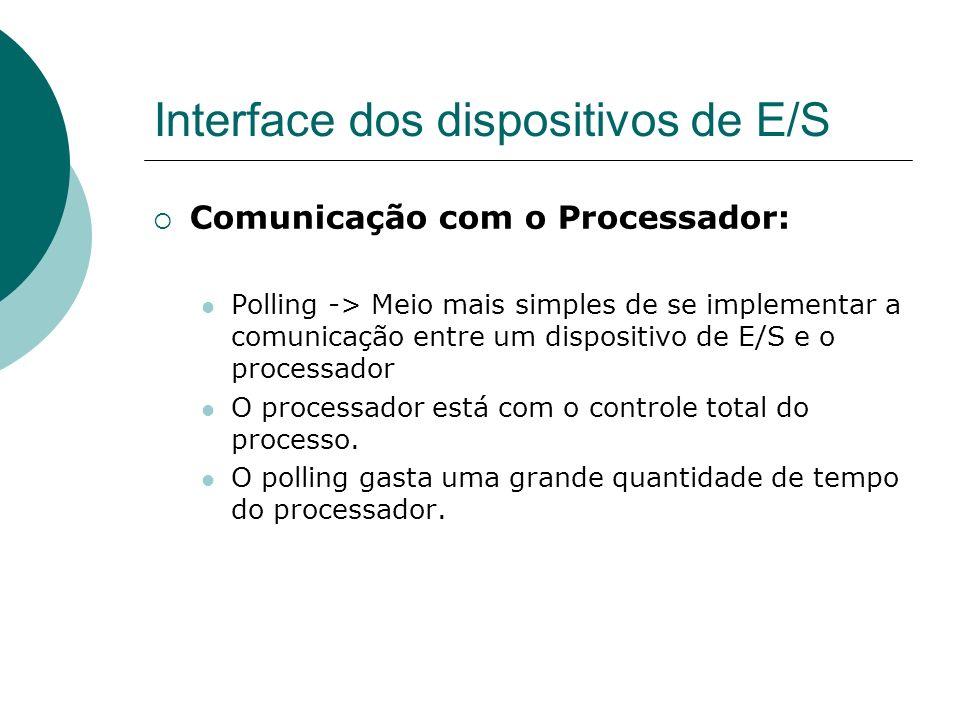 Interface dos dispositivos de E/S Comunicação com o Processador: Polling -> Meio mais simples de se implementar a comunicação entre um dispositivo de