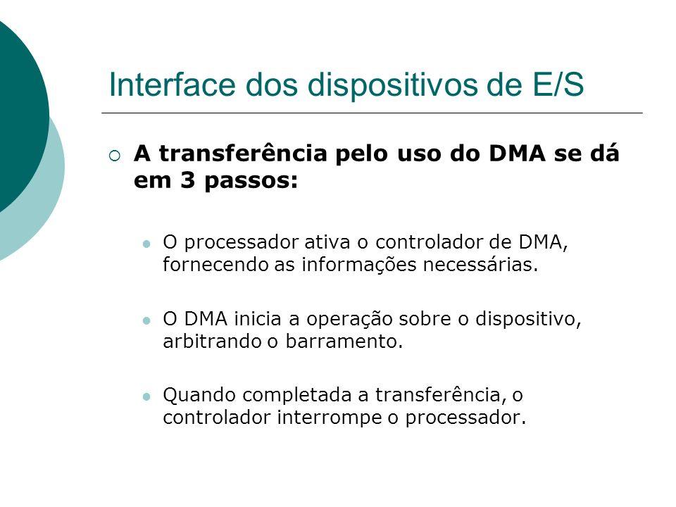 Interface dos dispositivos de E/S A transferência pelo uso do DMA se dá em 3 passos: O processador ativa o controlador de DMA, fornecendo as informaçõ