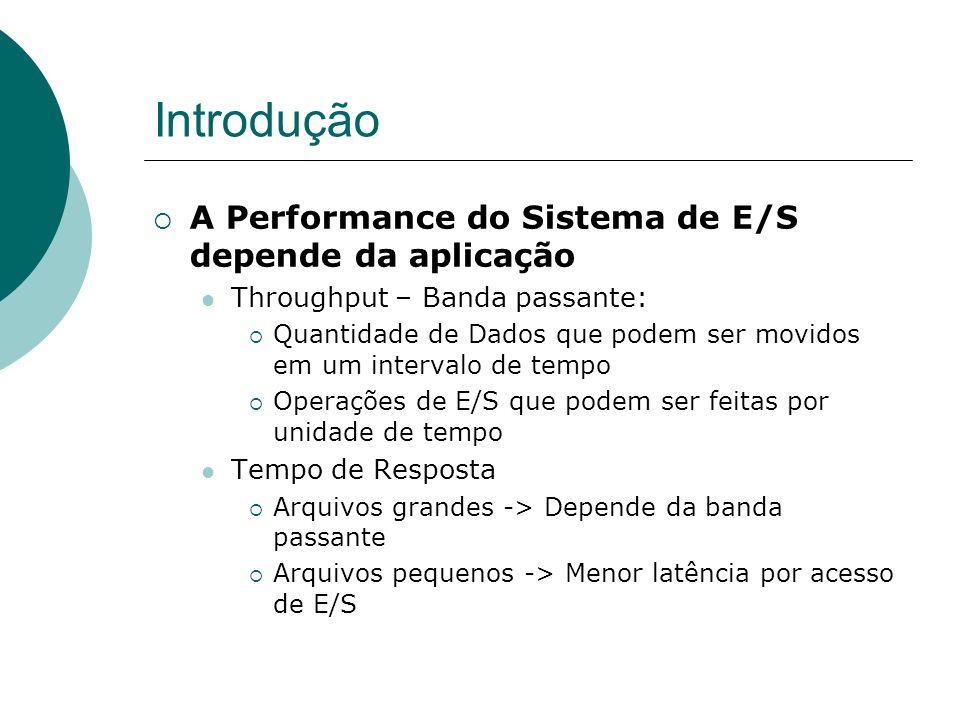 Introdução A Performance do Sistema de E/S depende da aplicação Throughput – Banda passante: Quantidade de Dados que podem ser movidos em um intervalo