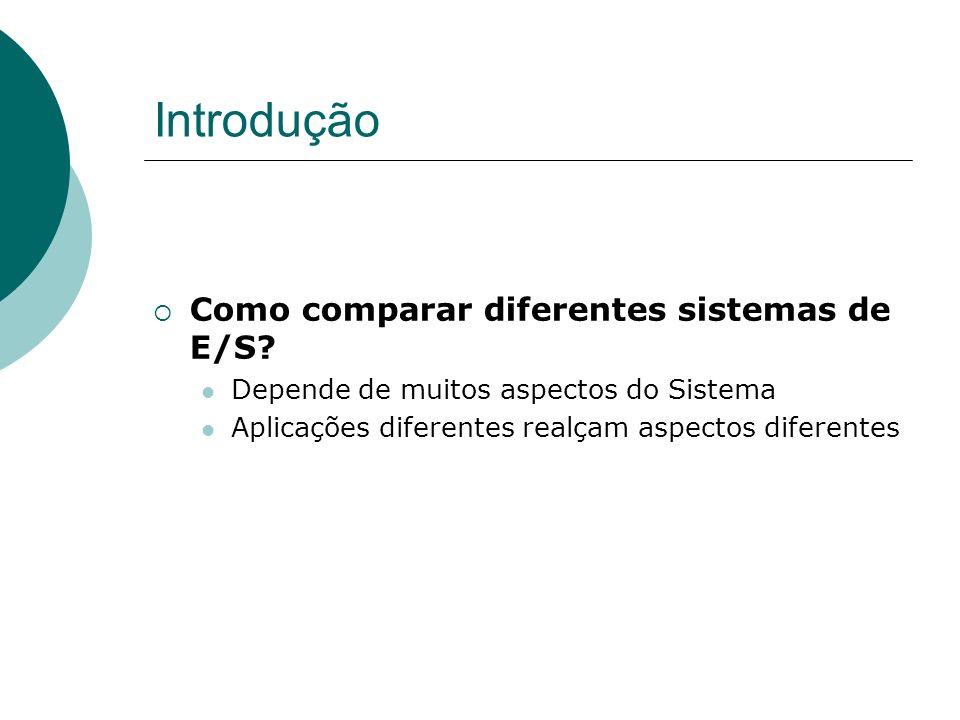 Medidas de Performance de E/S Exemplos: E/S em supercomputadores -> throughput de dados E/S para processamento de Transações -> Número de acessos ao disco por segundo e taxa de dados E/S de Sistema de Arquivos -> Padrão de acesso diferente