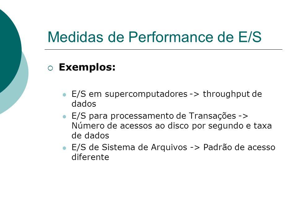 Medidas de Performance de E/S Exemplos: E/S em supercomputadores -> throughput de dados E/S para processamento de Transações -> Número de acessos ao d