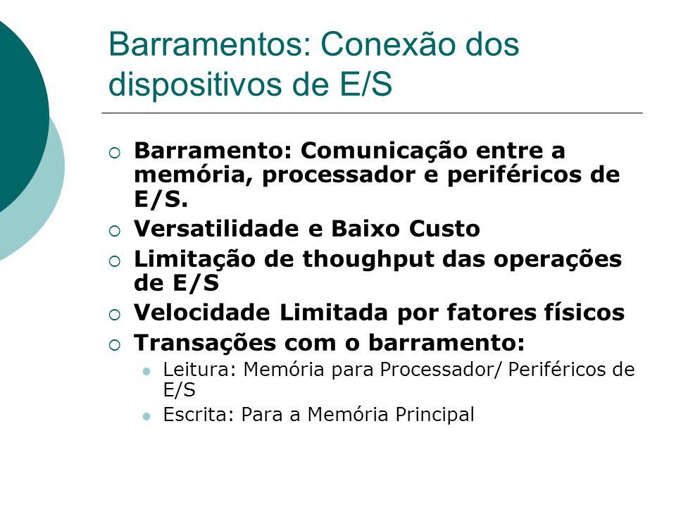 Barramentos: Conexão dos dispositivos de E/S Tipos de Barramentos: Processador-Memória: Velozes e Maximizam a banda passante.
