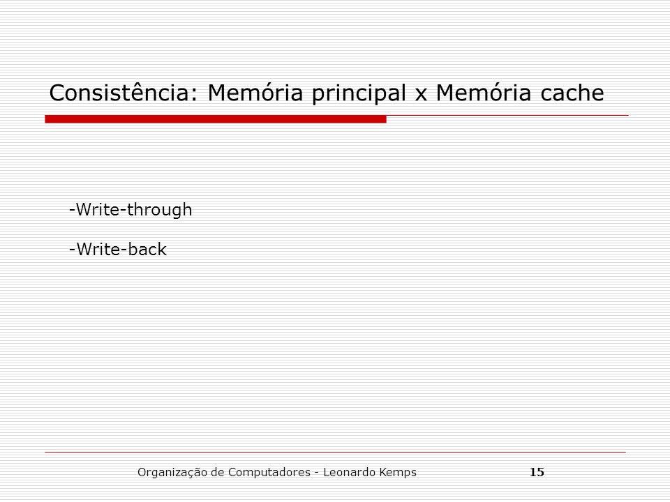 Organização de Computadores - Leonardo Kemps15 Consistência: Memória principal x Memória cache -Write-through -Write-back
