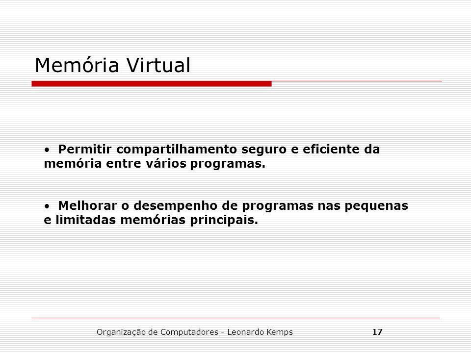 Organização de Computadores - Leonardo Kemps17 Memória Virtual Permitir compartilhamento seguro e eficiente da memória entre vários programas. Melhora
