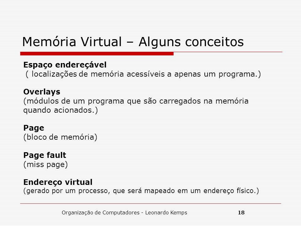 Organização de Computadores - Leonardo Kemps18 Memória Virtual – Alguns conceitos Espaço endereçável ( localizações de memória acessíveis a apenas um