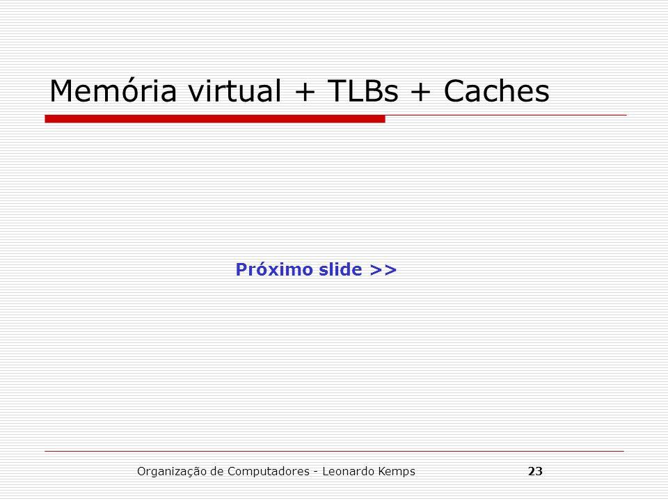 Organização de Computadores - Leonardo Kemps23 Memória virtual + TLBs + Caches Próximo slide >>