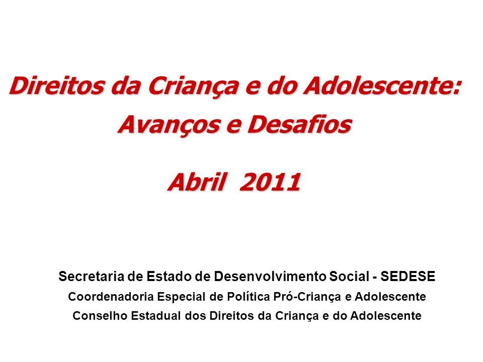 Direitos da Criança e do Adolescente: Avanços e Desafios Abril 2011 Secretaria de Estado de Desenvolvimento Social - SEDESE Coordenadoria Especial de