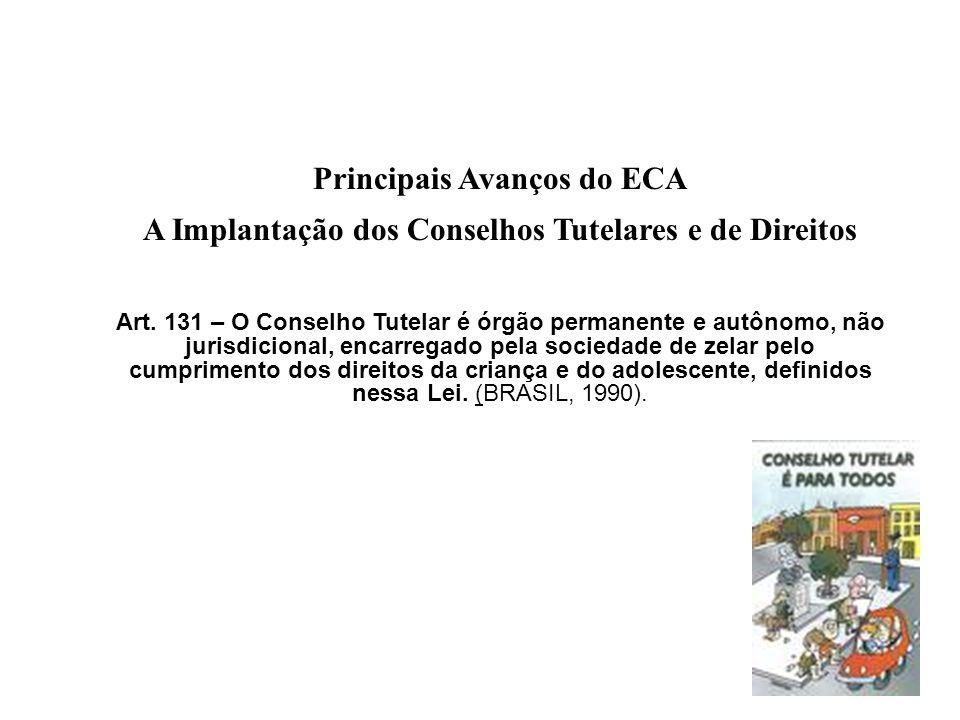 Principais Avanços do ECA A Implantação dos Conselhos Tutelares e de Direitos Art. 131 – O Conselho Tutelar é órgão permanente e autônomo, não jurisdi
