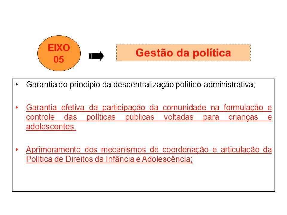 Garantia do princípio da descentralização político-administrativa; Garantia efetiva da participação da comunidade na formulação e controle das polític