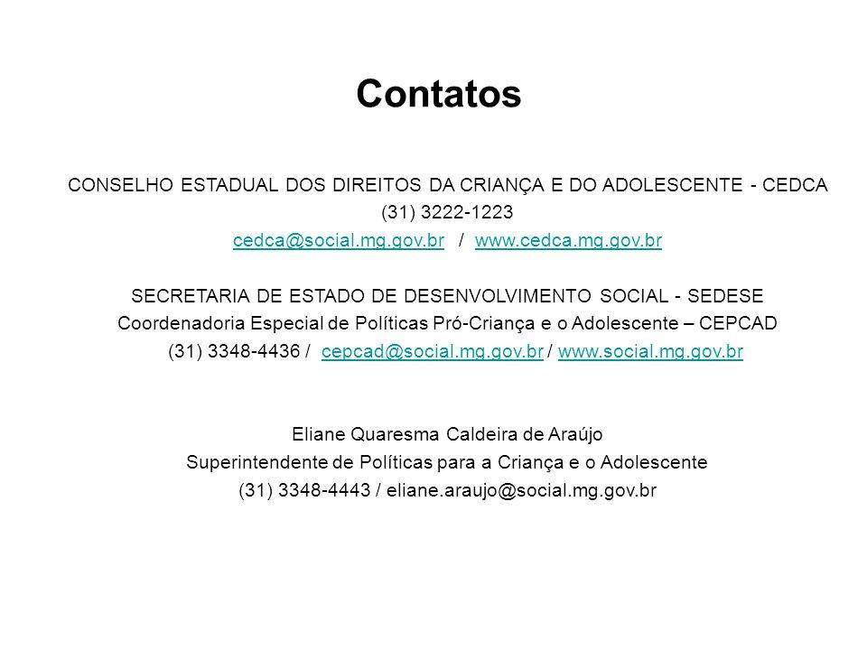 Contatos CONSELHO ESTADUAL DOS DIREITOS DA CRIANÇA E DO ADOLESCENTE - CEDCA (31) 3222-1223 cedca@social.mg.gov.brcedca@social.mg.gov.br / www.cedca.mg
