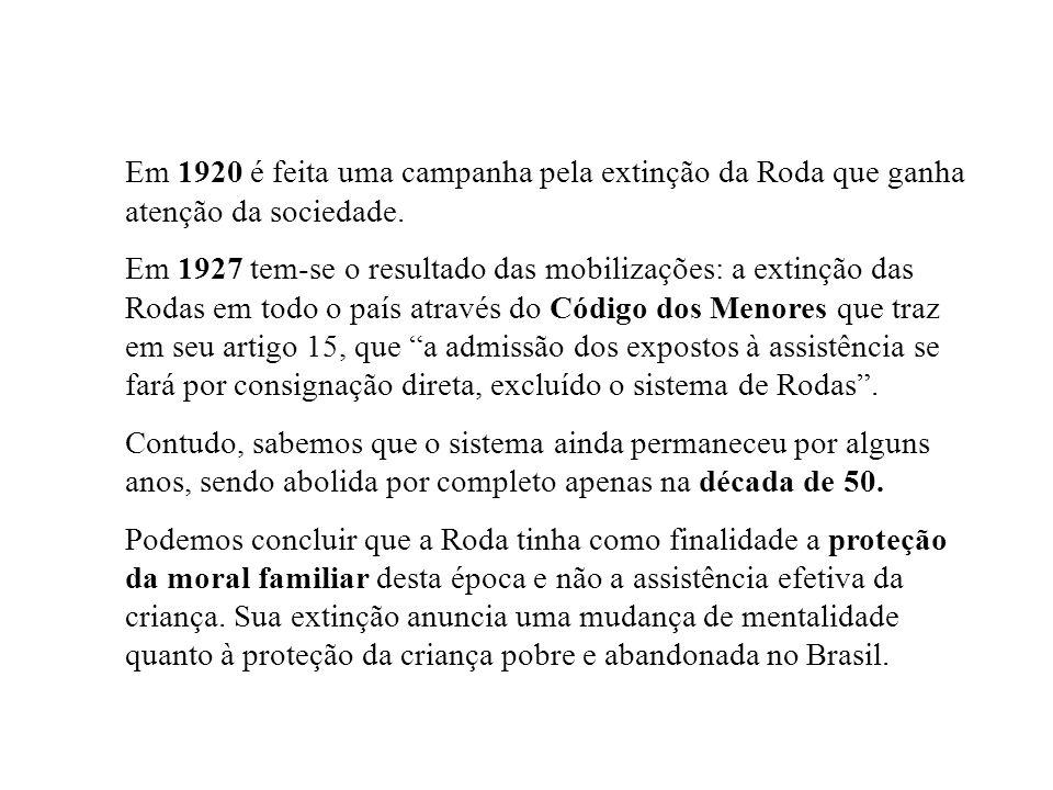 Em 1920 é feita uma campanha pela extinção da Roda que ganha atenção da sociedade. Em 1927 tem-se o resultado das mobilizações: a extinção das Rodas e