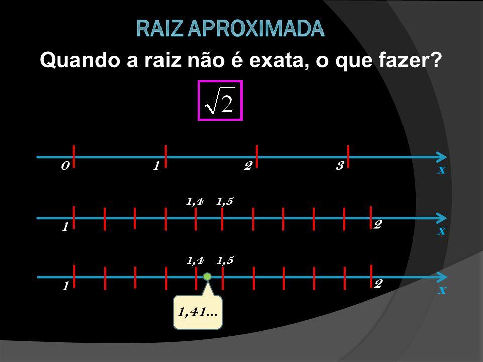 Quando a raiz não é exata, o que fazer? x 0123 x 1 2 1,41,5 x 1 2 1,41,5 1,41...