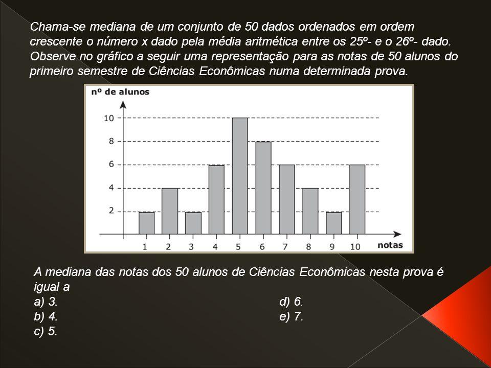 Chama-se mediana de um conjunto de 50 dados ordenados em ordem crescente o número x dado pela média aritmética entre os 25º- e o 26º- dado. Observe no