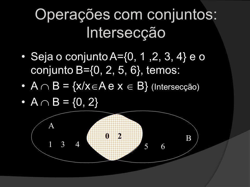 Operações com conjuntos: Intersecção Seja o conjunto A={0, 1,2, 3, 4} e o conjunto B={0, 2, 5, 6}, temos: A B = {x/x A e x B} (Intersecção) A B = {0,