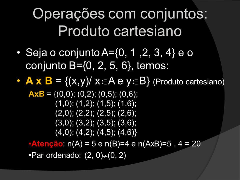 Operações com conjuntos: Produto cartesiano Seja o conjunto A={0, 1,2, 3, 4} e o conjunto B={0, 2, 5, 6}, temos: A x B = {(x,y)/ x A e y B} (Produto c