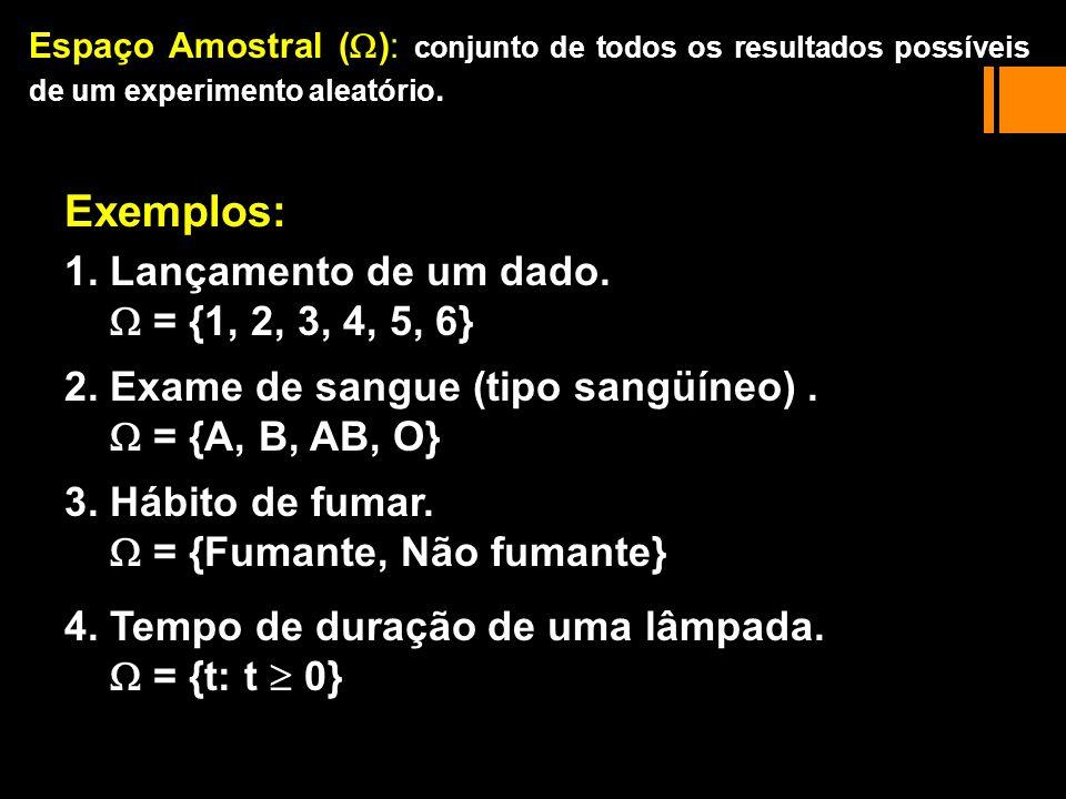 Espaço Amostral ( ) Espaço Amostral ( ): conjunto de todos os resultados possíveis de um experimento aleatório. 4. Tempo de duração de uma lâmpada. =