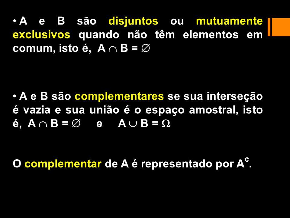 sair uma face par ou face 1 A C = {2, 4, 6} {1} = {1, 2, 4, 6} sair uma face par e face 1 A C = {2, 4, 6} {1} = sair uma face par e maior que 3 A B = {2, 4, 6} {4, 5, 6} = {4, 6} sair uma face par ou maior que 3 A B = {2, 4, 6} {4, 5, 6} = {2, 4, 5, 6} = {1, 2, 3, 4, 5, 6} Eventos: A = {2, 4, 6}, B = {4, 5, 6} e C = {1} Exemplo : Lançamento de um dado não sair face par : A C = {1, 3, 5}