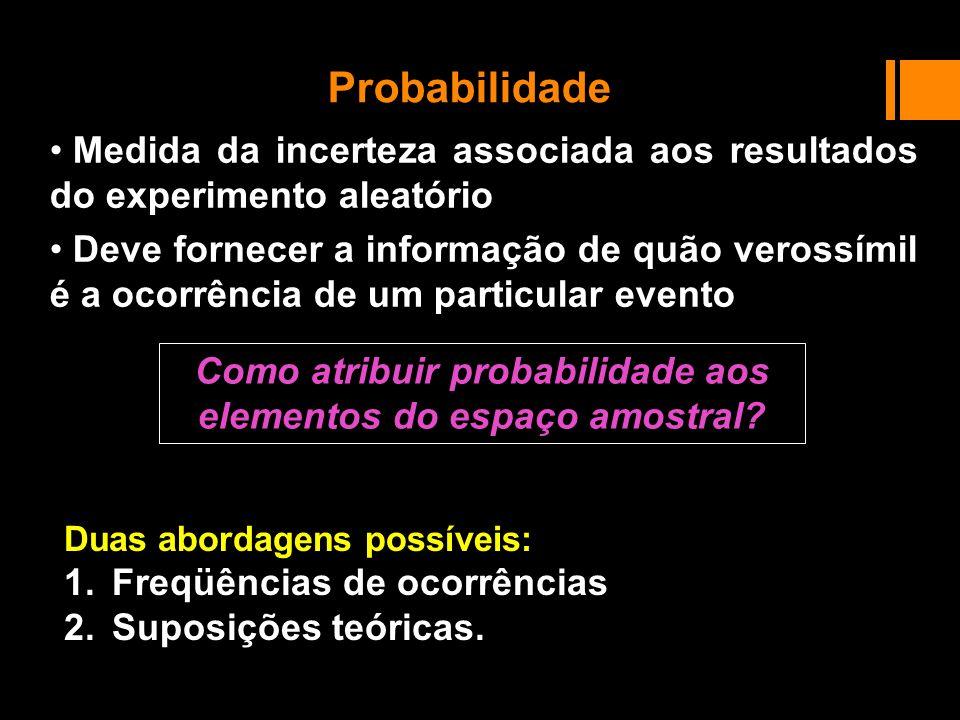 Probabilidade Medida da incerteza associada aos resultados do experimento aleatório Deve fornecer a informação de quão verossímil é a ocorrência de um