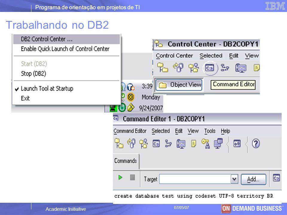 Programa de orientação em projetos de TI © 2003 IBM Corporation Academic Initiative 07/05/07 Criação do banco de dados create database fema using codeset UTF-8 territory BR