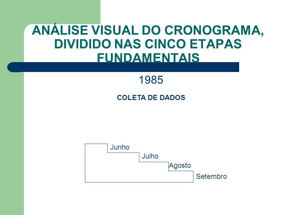 ANÁLISE VISUAL DO CRONOGRAMA, DIVIDIDO NAS CINCO ETAPAS FUNDAMENTAIS Junho Julho Agosto Setembro 1985 COLETA DE DADOS