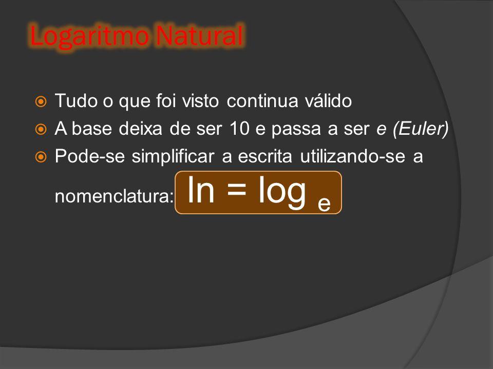 Tudo o que foi visto continua válido A base deixa de ser 10 e passa a ser e (Euler) Pode-se simplificar a escrita utilizando-se a nomenclatura: ln = l