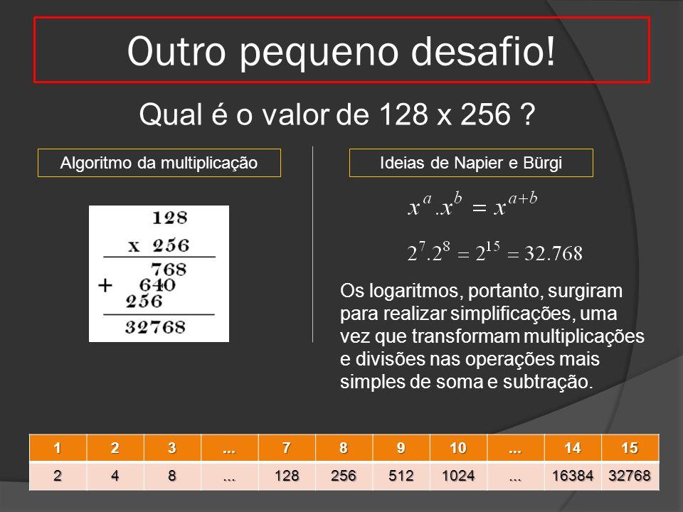 Outro pequeno desafio! Qual é o valor de 128 x 256 ? Algoritmo da multiplicaçãoIdeias de Napier e Bürgi123...78910...1415248...1282565121024...1638432