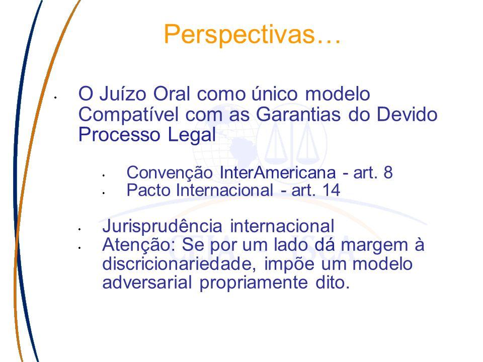 Perspectivas… O Juízo Oral como único modelo Compatível com as Garantias do Devido Processo Legal Convenção InterAmericana - art.